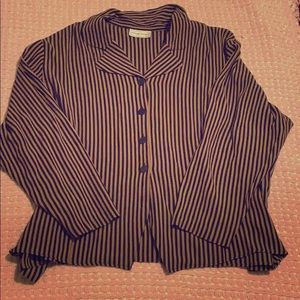 Stripped black & beige shirt- Any $5 top at 3/$10